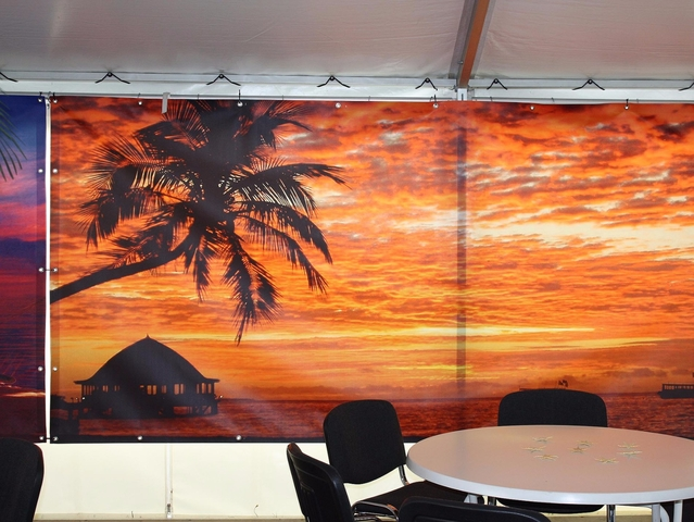 "Beach-Party Wanddekoration Dekovorhang  ""Sunset"" mieten"